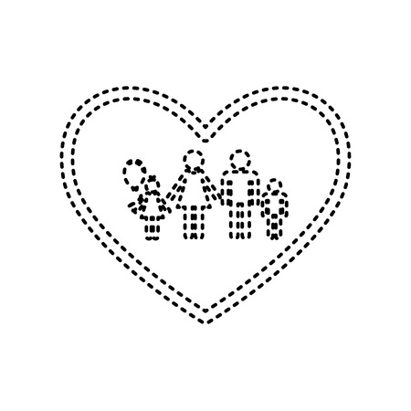 siloette: Family sign illustration in heart shape. Vector. Black dashed icon on white background.