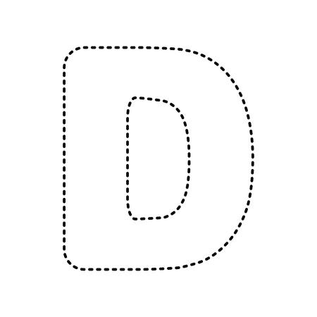 Letter D Sign Design Template Element Vector Black Dashed Icon