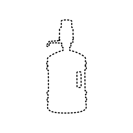 siphon: Plastic bottle silhouette with water and siphon. Vector.