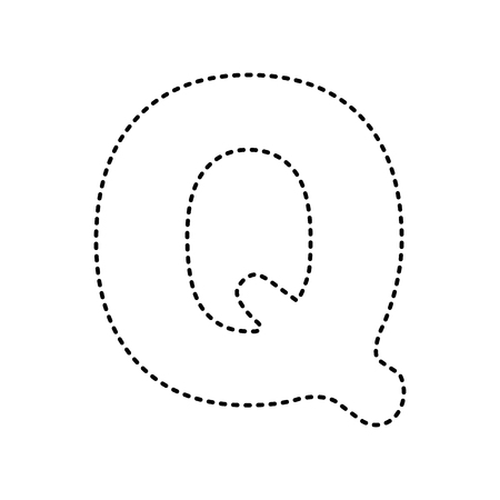 Letter Q Sign Design Template Element Vector Black Dashed Icon