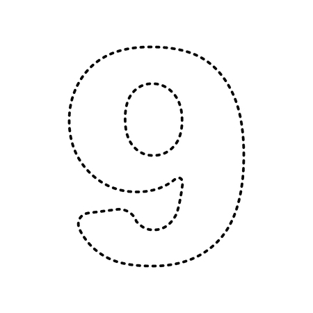 Number 9 sign design template element. Vector. Black dashed icon on white background. Illustration