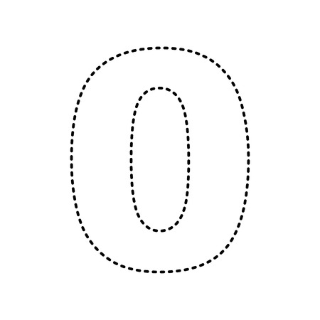 Number 0 sign design template element. Vector. Black dashed icon on white background. Isolated.