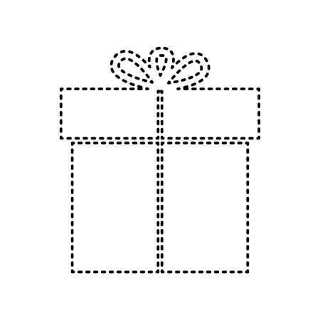 giftware: Gift sign. Vector. Black dashed icon on white background. Isolated. Illustration