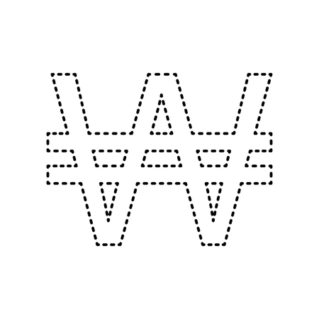 new account: Won sign. Vector. Black dashed icon on white background. Isolated.
