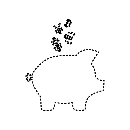 Piggy bank sign with the currencies. Vector. Black dashed icon on white background. Isolated. Illustration