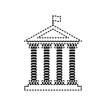 roman pillar: Historical building with flag. Vector. Black dashed icon on white background. Isolated.