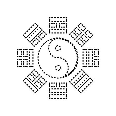 taiji: Yin and yang sign with bagua arrangement. Vector. Black dashed icon on white background. Isolated.