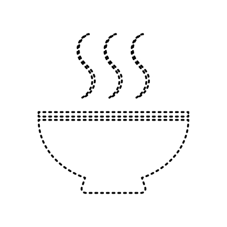 gastro: Soup sign. Vector. Black dashed icon on white background. Isolated.