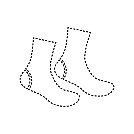 hosiery: Socks sign. Vector. Black dashed icon on white background. Isolated.