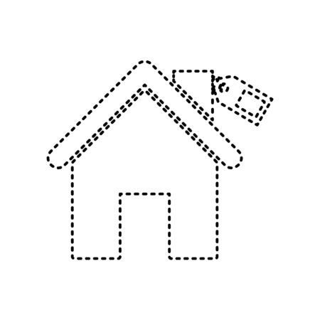 house for sale: Home silhouette with tag. Vector. Black dashed icon on white background. Isolated. Illustration