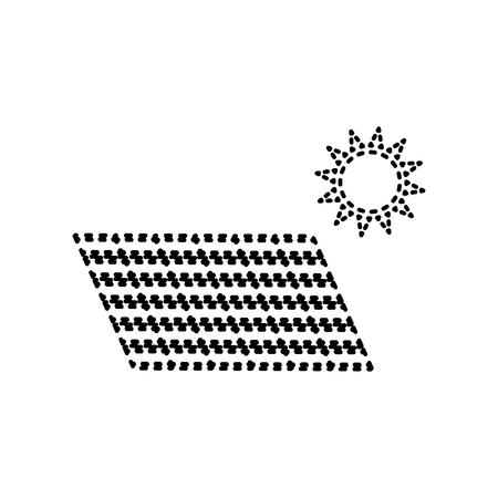 voltage sign: Solar energy panel. Eco trend concept sign. Vector. Black dashed icon on white background. Isolated.