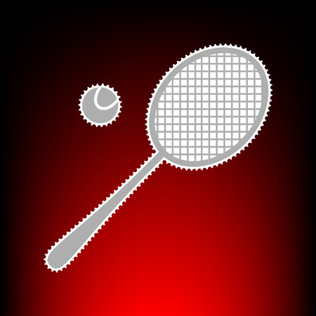 Tennis racquet sign. Postage stam or old photo style on red-black gradient background.