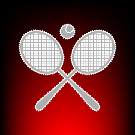 Tennis racket sign. Postage stam or old photo style on red-black gradient background.