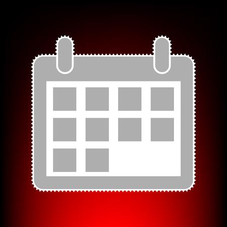 Calendar sign illustration. Postage stam or old photo style on red-black gradient background. Illustration