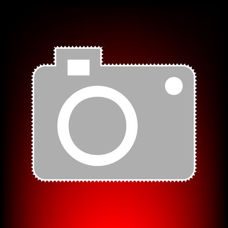 digicam: Digital camera sign. Postage stam or old photo style on red-black gradient background. Illustration
