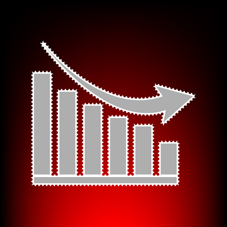 Declining graph sign. Postage stam or old photo style on red-black gradient background.