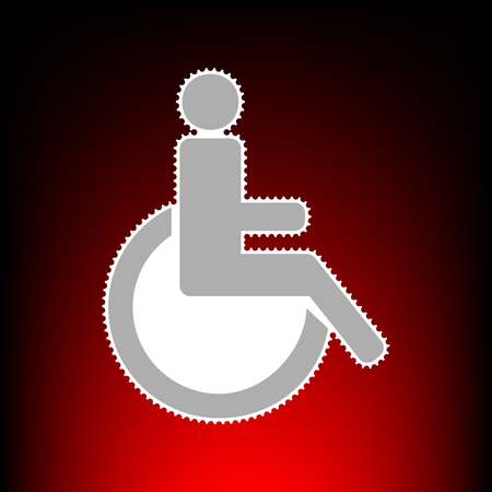 con man: Disabled sign illustration. Postage stam or old photo style on red-black gradient background.