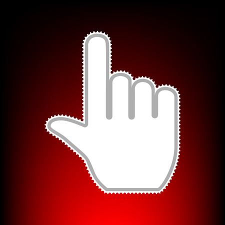 Hand sign illustration. Postage stam or old photo style on red-black gradient background.