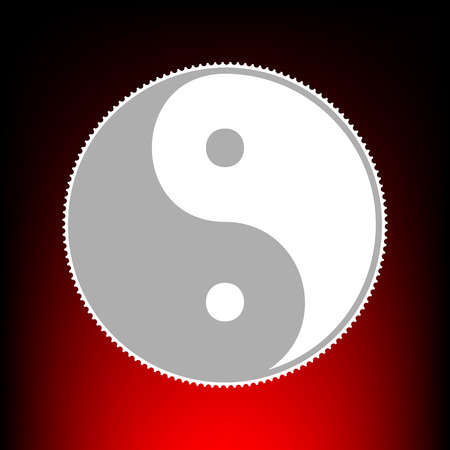Ying yang symbol of harmony and balance. Postage stam or old photo style on red-black gradient background.