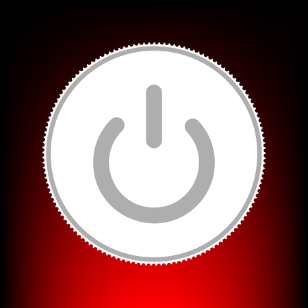 On Off switch sign. Postage stam or old photo style on red-black gradient background.