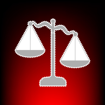 Scales of Justice sign. Postage stam or old photo style on red-black gradient background.