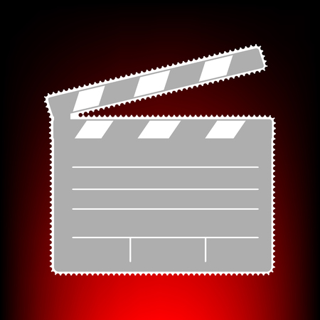Film clap board cinema sign. Postage stamp or old photo style on red-black gradient background.