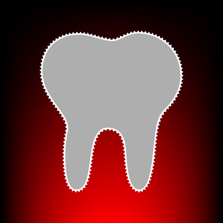 Tooth sign illustration. Postage stamp or old photo style on red-black gradient background. Illustration