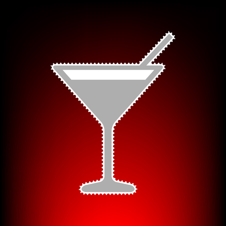 Cocktail sign illustration. Postage stamp or old photo style on red-black gradient background.