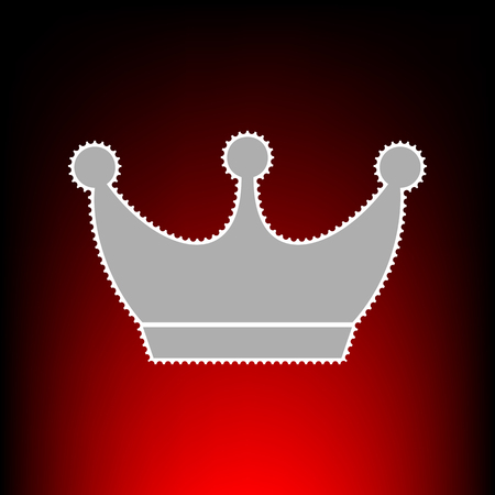 King crown sign. Postage stamp or old photo style on red-black gradient background.