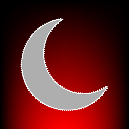 Moon sign illustration. Postage stamp or old photo style on red-black gradient background.