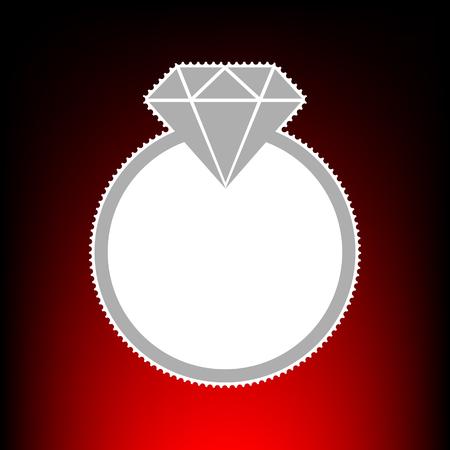 Diamond sign illustration. Postage stamp or old photo style on red-black gradient background. Illustration