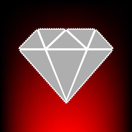spoil: Diamond sign illustration. Postage stamp or old photo style on red-black gradient background. Illustration