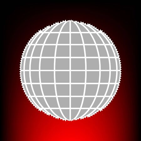 Earth Globe sign. Postage stamp or old photo style on red-black gradient background. Illustration