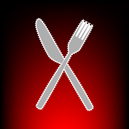 Fork and Knife sign. Postage stamp or old photo style on red-black gradient background. Illustration