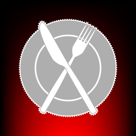 Fork, Knife and Plate sign. Postage stamp or old photo style on red-black gradient background. Illustration