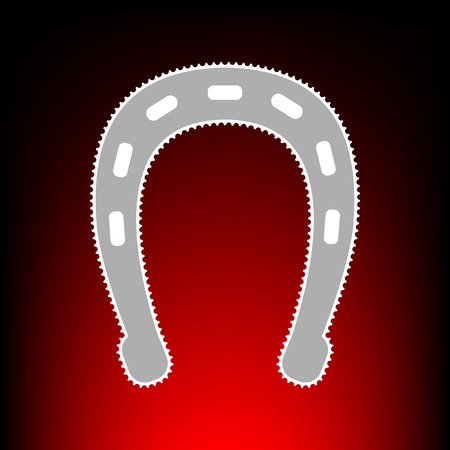 Horseshoe sign illustration. Postage stamp or old photo style on red-black gradient background. Illustration