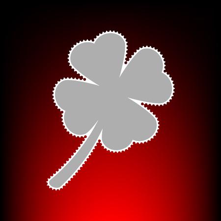 Leaf clover sign. Postage stamp or old photo style on red-black gradient background. Illustration