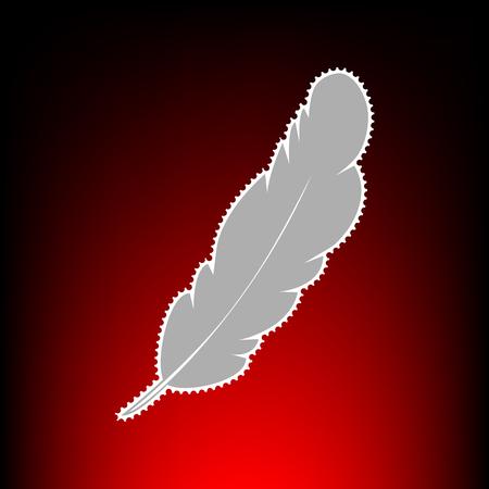 Feather sign illustration. Postage stamp or old photo style on red-black gradient background. Ilustração