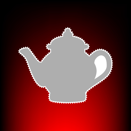 Tea maker sign. Postage stamp or old photo style on red-black gradient background.