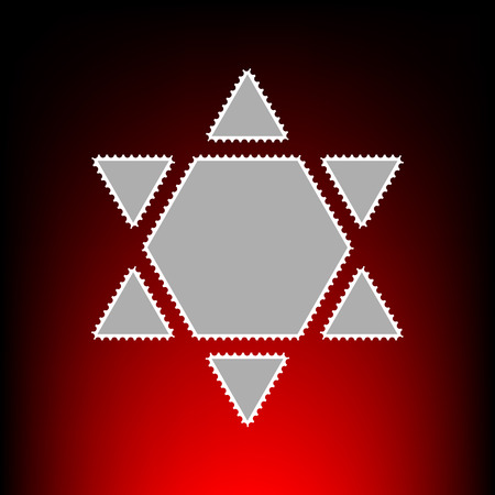 Shield Magen David Star Inverse. Symbol of Israel inverted. Postage stamp or old photo style on red-black gradient background.