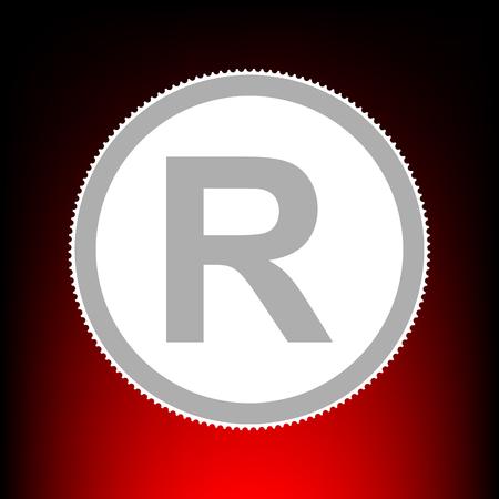 Registered Trademark sign. Postage stamp or old photo style on red-black gradient background. Illustration