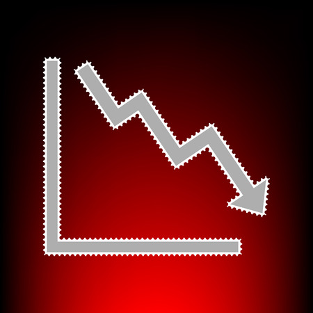 perdidas y ganancias: Arrow pointing downwards showing crisis. Postage stamp or old photo style on red-black gradient background. Vectores
