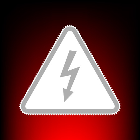 High voltage danger sign. Postage stamp or old photo style on red-black gradient background.