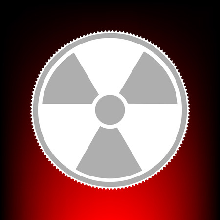 Radiation Round sign. Postage stamp or old photo style on red-black gradient background.