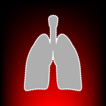 Human organs Lungs sign. Postage stamp or old photo style on red-black gradient background. Illustration