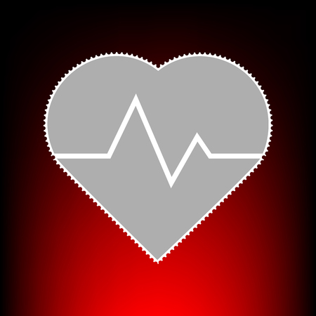 Heartbeat sign illustration. Postage stamp or old photo style on red-black gradient background.