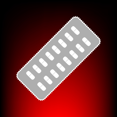 Medical Pills sign. Postage stamp or old photo style on red-black gradient background.