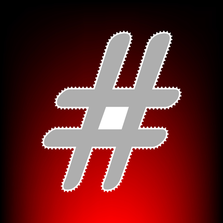 Hashtag sign illustration. Postage stamp or old photo style on red-black gradient background.