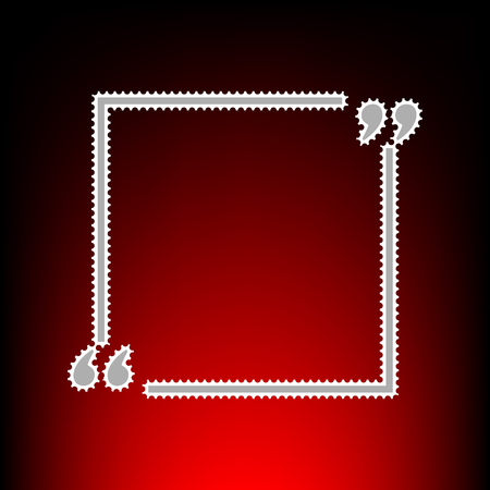 Text quote sign. Postage stamp or old photo style on red-black gradient background. Illustration