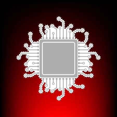 CPU Microprocessor illustration. Postage stamp or old photo style on red-black gradient background. Illustration